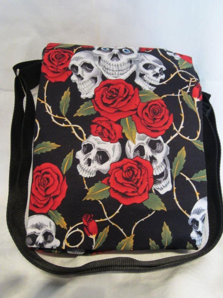 Handmade satchel/messenger bag in skull & roses print by Koolies Kreations at IAMA