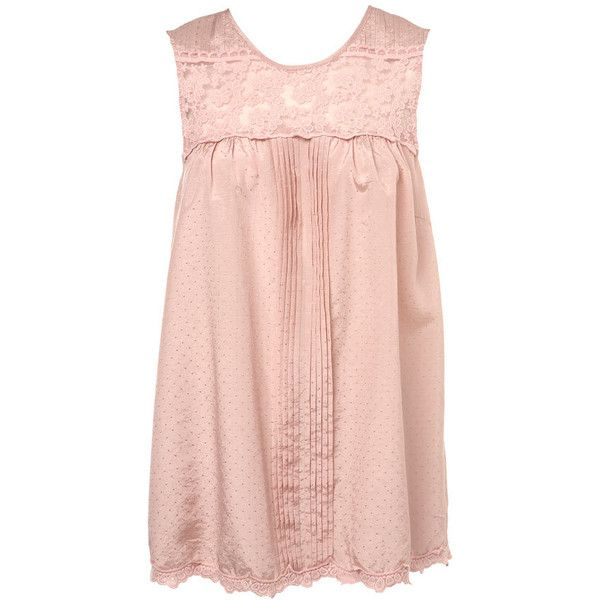 Nude Lace Dobby Smock Top ($40) ❤ liked on Polyvore featuring tops, shirts, pink, dresses, women's clothing, sleeveless lace shirt, pink shirt, smock tops, pink lace shirt and lacy tops