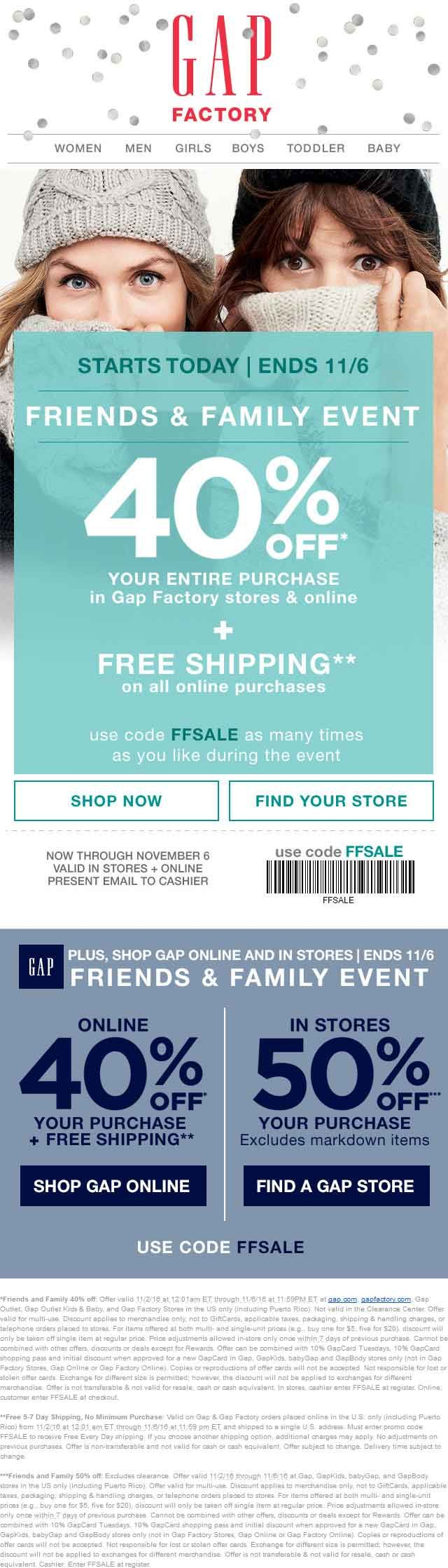 Gap coupon gap promo code from the coupons app off at gap gap outlet gap outlet kids baby and gap factory or online via promo code ffsale june