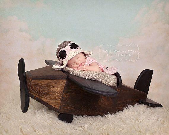 Newborn Baby Girl Aviator Hat w Goggles and Scarf by pixieharmony, $36.95