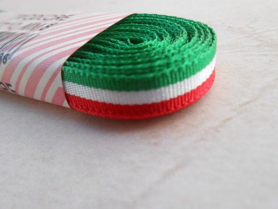 Flag Ribbon Italian Flag 8mm. 10 yards by lallehandmade on Etsy