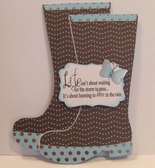 rain boots - wellies  LIFE  Rhonda Zmikly - Rain boots shaped card