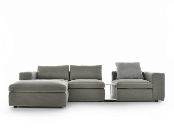 Sectional 3 seater fabric sofa with chaise longue GRAFO | Sofa with chaise longue - MDF Italia