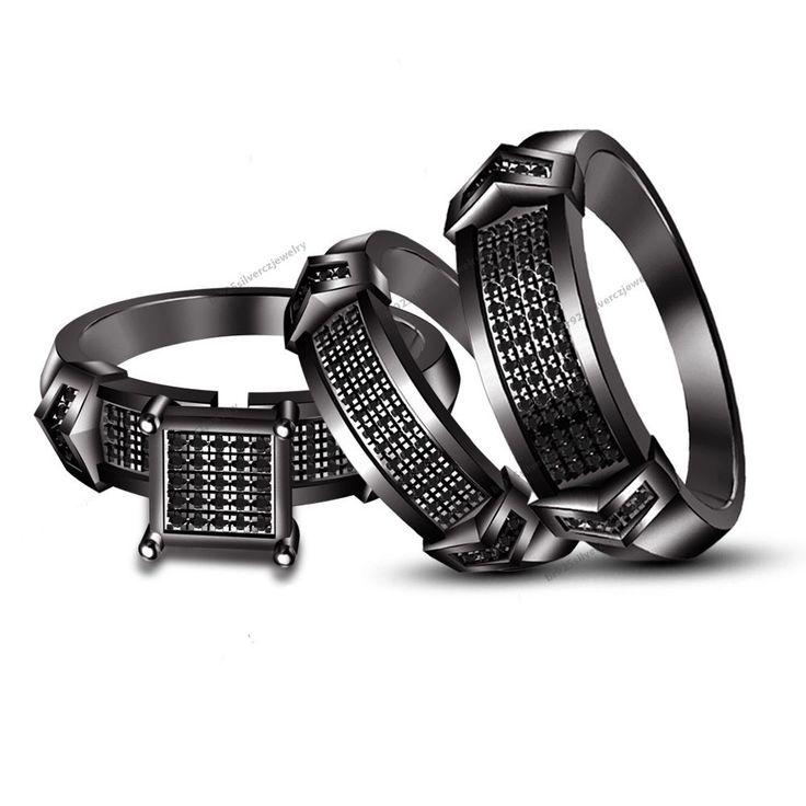 Black Gold Over Trio Wedding Set Mens Womens Wedding Rings Matching Sim.Diamond #br925silverczjewelry
