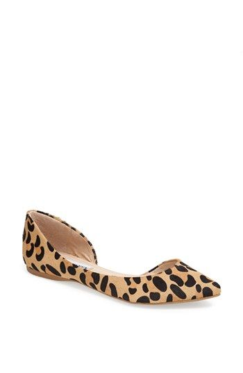 Steve Madden 'Elusion' Leopard Print Calf Hair Half d'Orsay Flat available at #Nordstrom