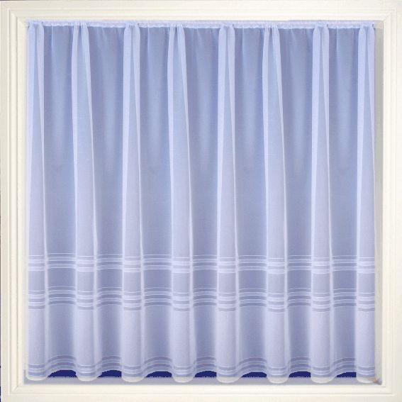 Net Curtain 102 (plain stripe) Pattern '102' Available in the following drop lengths – 36″, 40″, 45″, 48″, 54″, 72″, 90″ Curtains are 100% Polyester – Hand Washable at 30 degrees