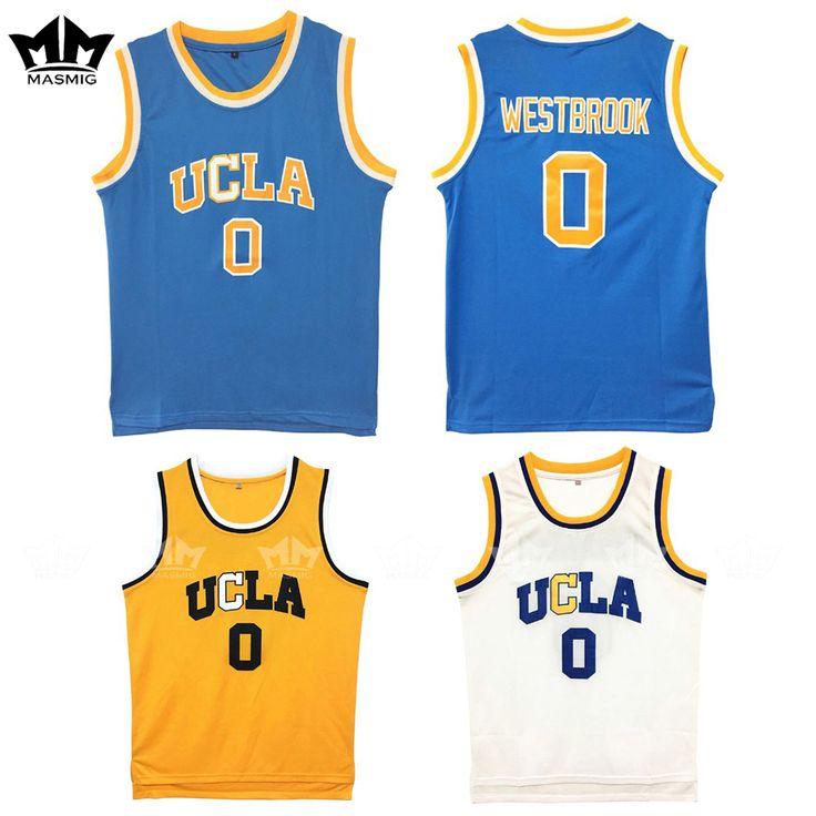 MM MASMIG Russell Westbrook 0 UCLA Koszykówka Jersey Niebieski Biały i Żółty