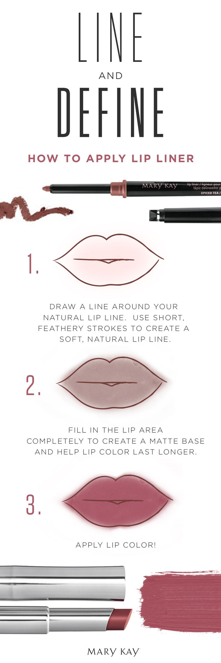 Applying the perfect lip liner is easy than you think with these beauty tips and tricks! To help lip color last longer, completely fill in your lips with liner before applying lipstick. You can also skip the lipstick and wear just the lip liner! | Mary Kay