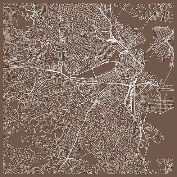 Custom BOSTON CITY MAP Boston Map Print Minimalist City