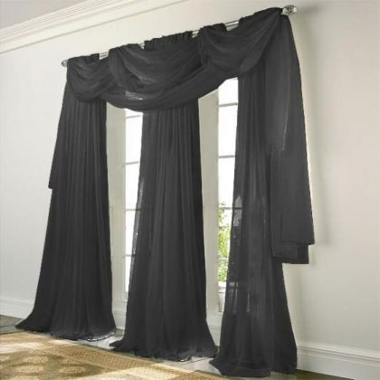 elegance voile black sheer curtain