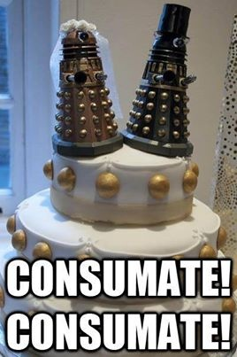 For the hard-core Doctor Who fan. This is a Dalek Wedding Cake.
