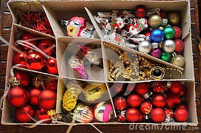 Christmas background - Box with globes and Christmas decorations