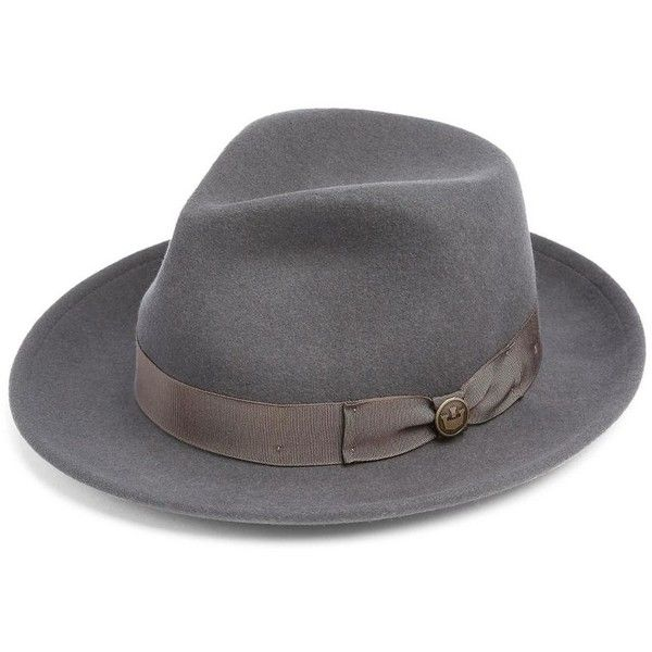 Goorin Bros Doctor Heritage Wool Felt Fedora ($75) ❤ liked on Polyvore featuring men's fashion, men's accessories, men's hats, grey, mens wool fedora hats, mens wool fedora, mens felt hat, mens hats fedora and mens wide brim fedora hats