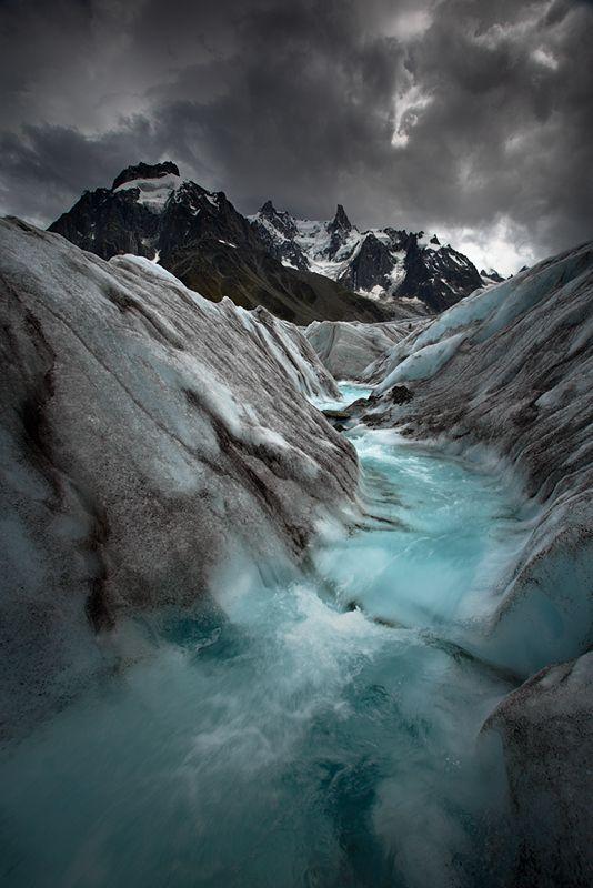River magic on the glacier of the sea ice, Chamonix Mont Blanc.