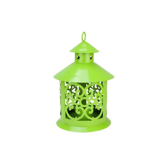 "8"" Shiny Lime Green Candle Holder Lantern with Star & Scroll Cutouts"