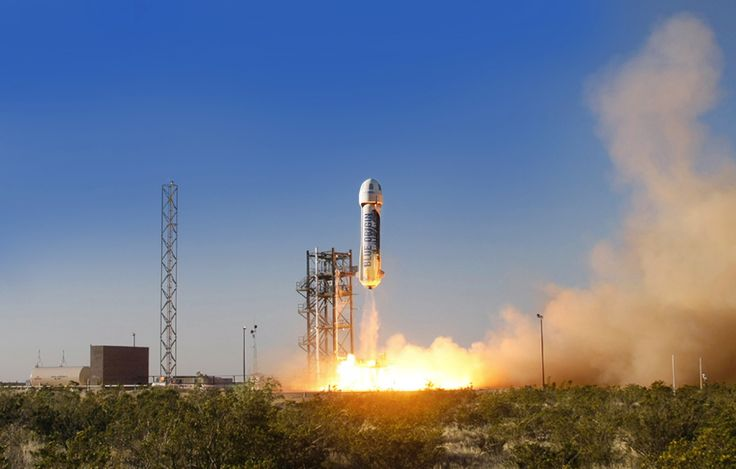 Blue Origin's privately built New Shepard passenger ship launches on a suborbtial test flight from West Texas on April 29, 2015. New Shepard is a commercial spaceship designed to fly at least three people on round trip suborbital flights.<br />