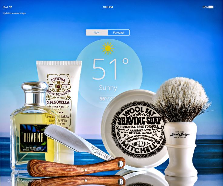 Mitchell's Wool Fat shave soap, Morris and Forndran badger brush, Feather Artist Club folding shavette razor, Santa Maria Novella aftershave balm, Aramis Havana cologne, January 4, 2018.  ©Sarimento1