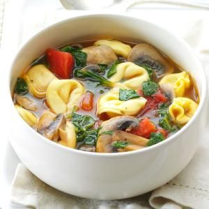 Mushroom Tortellini Soup Recipe -This colorful veggie soup gets all bulked up thanks to cheesy tortellini. It's a real comfort on a cold or rainy day. —Jen Lucas, Baldwinville, Massachusetts