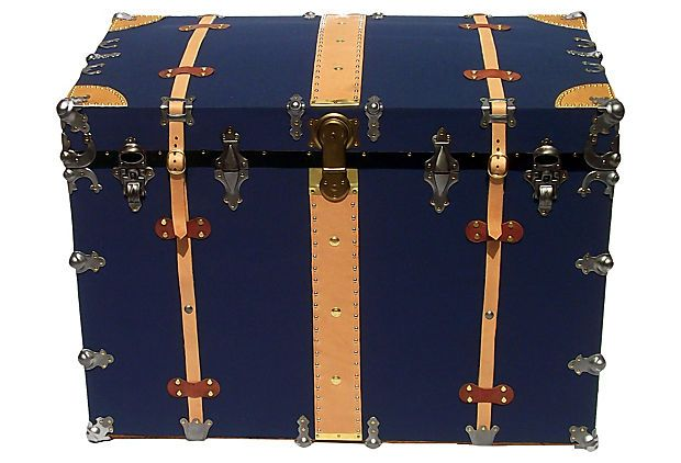 1910s Navy Blue Canvas Transport Trunk on OneKingsLane.com
