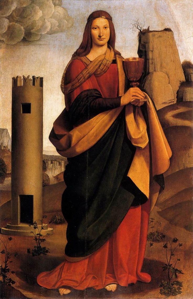 The Athenaeum - St Barbara by Giovanni Antonio Boltraffio  Owner/Location: Staatliche Museen zu Berlin (Germany)       Dates: circa 1493-1495  Medium: Painting - oil on canvas