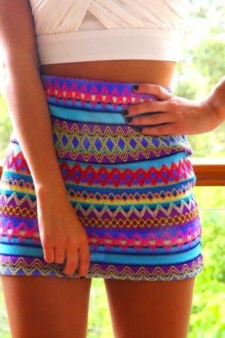 : Crop Tops, Patterns Skirts, Summerskirt, Summer Skirts, Pencil Skirts, Tribal Skirts, Tribal Prints, Bright Colors, Cute Skirts