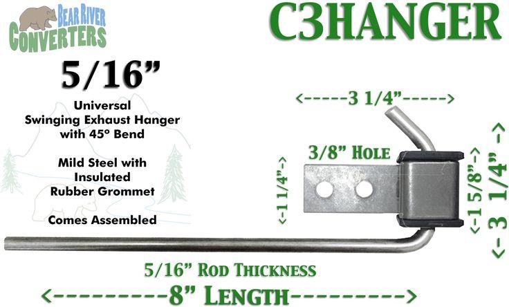 "C3HANGER Exhaust Hanger Southern J Hook 5/16"" 45º Rod 8"" w/ Rubber Grommet"