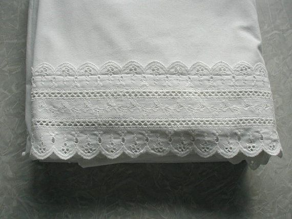 Vintage White Eyelet Bed Sheet Flat Sheet by ChickenLittleToo