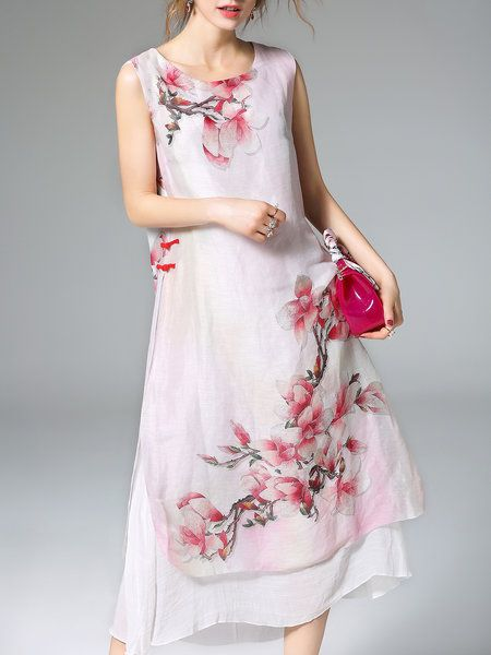 Red Silk-blend A-line Sleeveless Printed Midi Dress