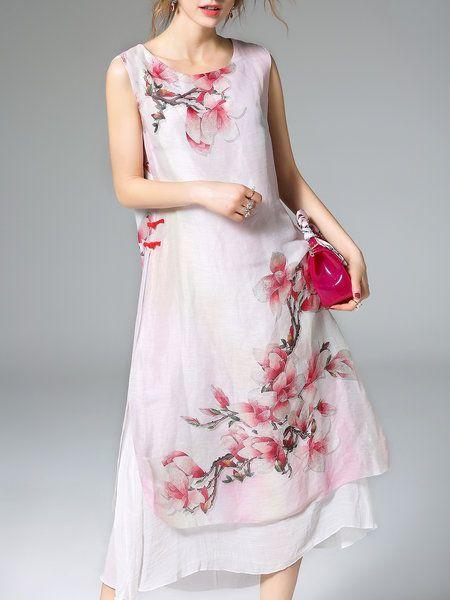 Red Silk-blend A-line Sleeveless Printed Midi Dress