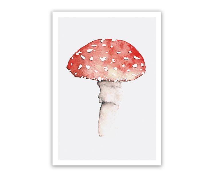 Fliegenpilz Print – schöne Herbstdeko für die Wand, auch hübsch für das Kinderzimmer. #Glückspilz