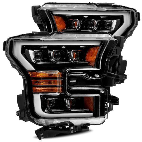 15 17 Ford F150 Nova Series Headlights Jet Black Alpharex Led