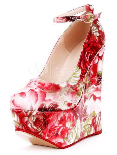 Chic Multi Color Floral Print Ankle Strap Almond Toe Lady's Wedge Shoes - Milanoo.com