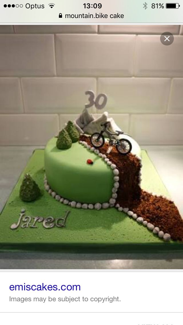Mountain Bike Cake- use road instead of dirt- but keep the trees