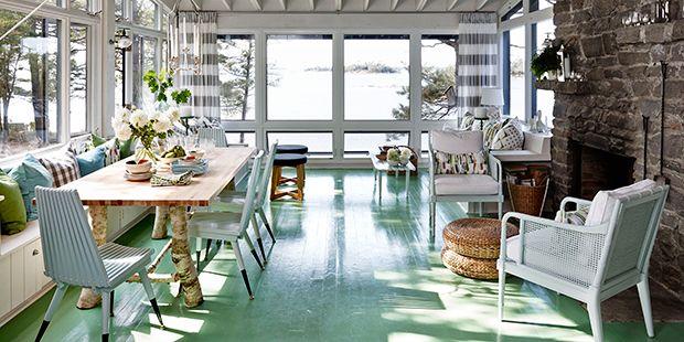 horizontal grey & white stripe curtains. Fabric from Tonic Living for Sarah Richardson's Rental Cottage tv show. #sarahrichardson #sarahsrentalcottage