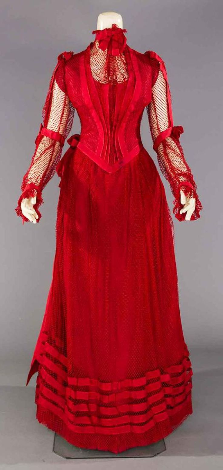 BLOOD RED PARTY GOWN, PITTSBURG, PA. c. 1890
