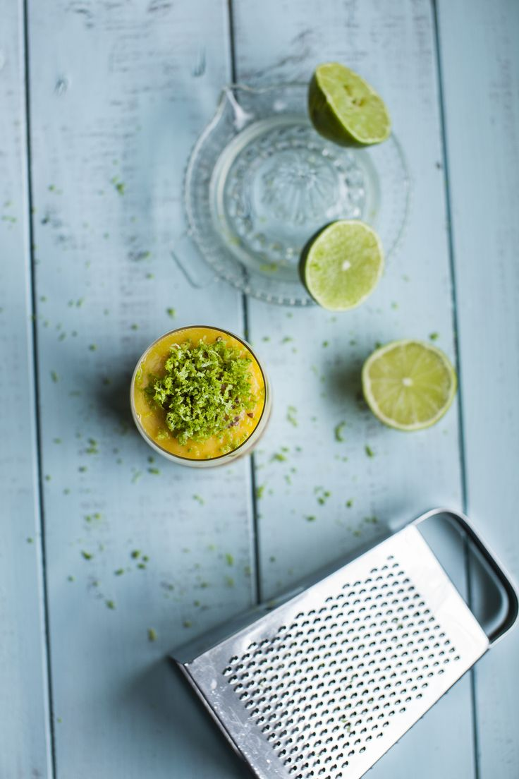 Mango & Pineapple smoothie with chia seeds and lime zest. See more at http://honestmunchies.com