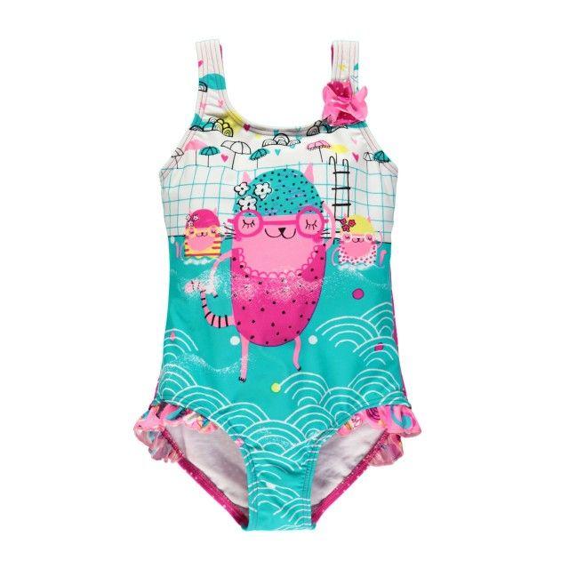 One-Piece Swimsuit with Ruffles / Maillot une-pièce avec volants Multicolore Souris Mini