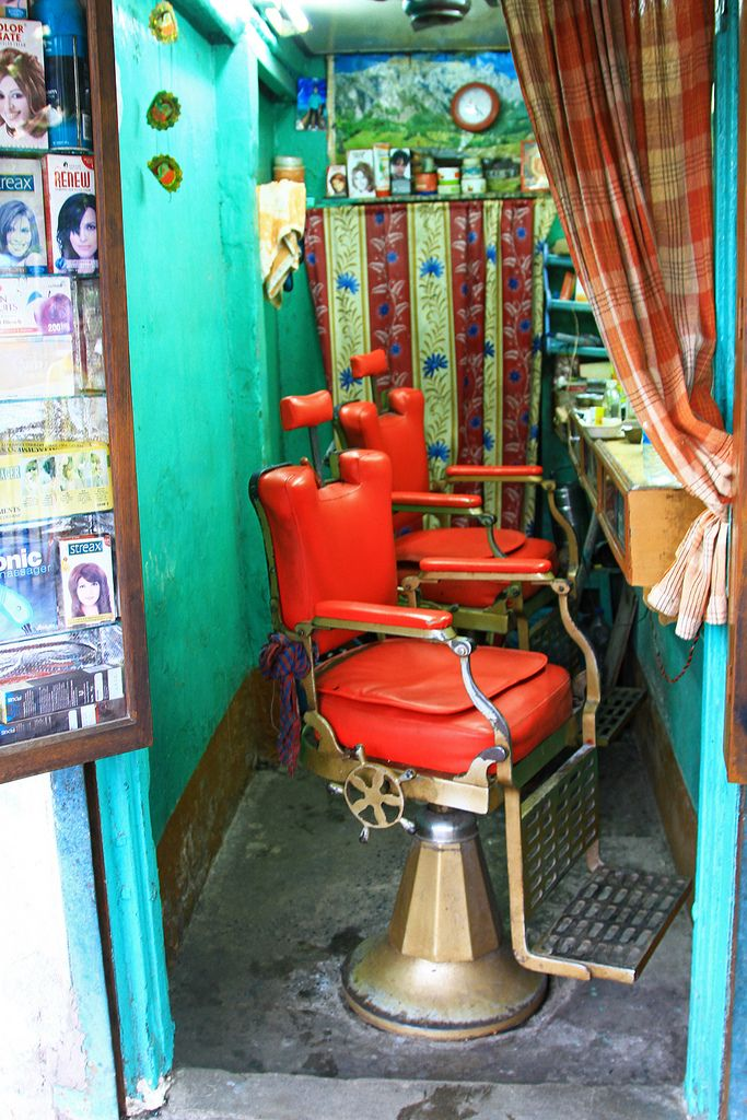 A barber shop in Varanasi, India.   by cookiesound