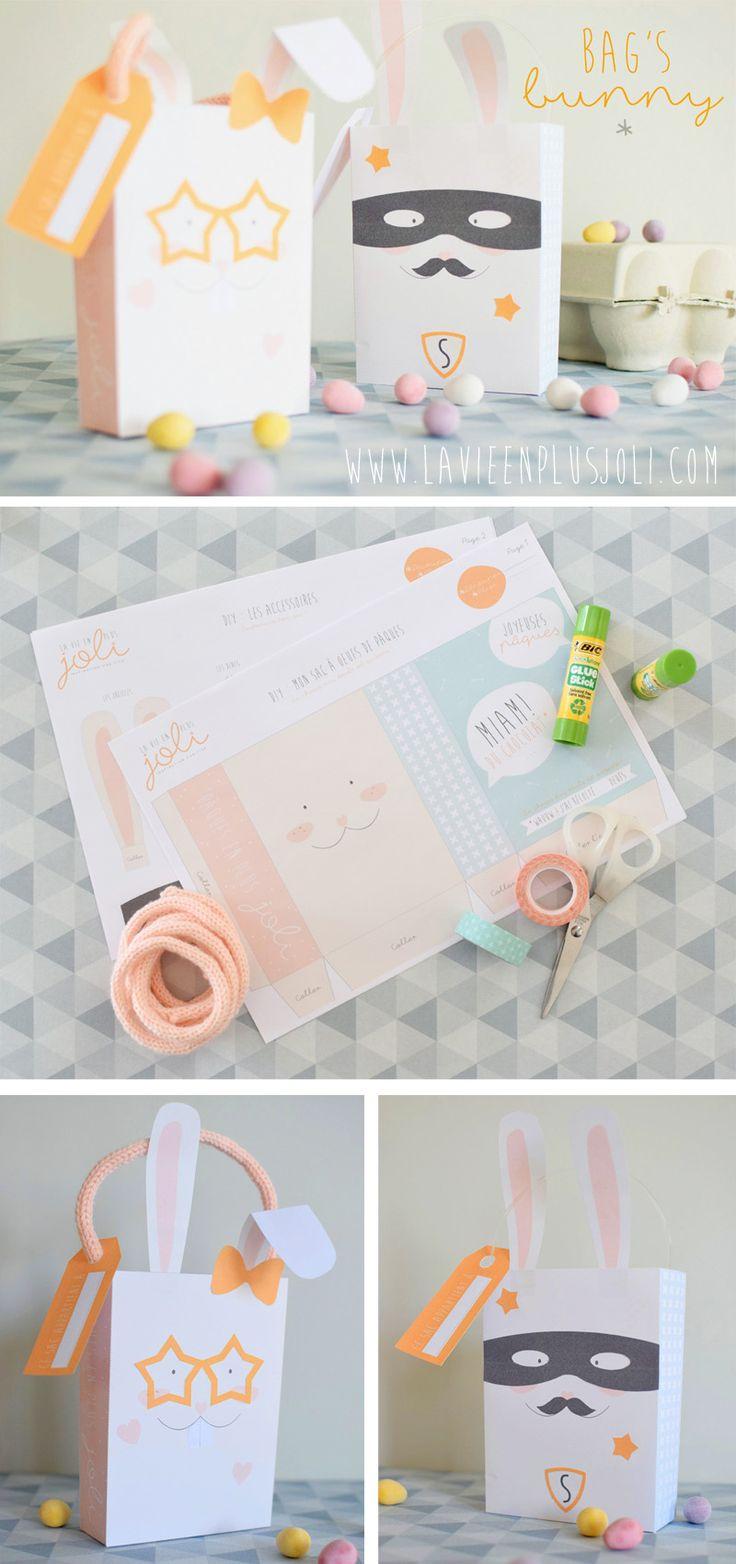 Bag's Bunny : le panier de Pâques à imprimer et à monter facilement. # Pâques #easter #DIY #kids #kidscraft #bricolage