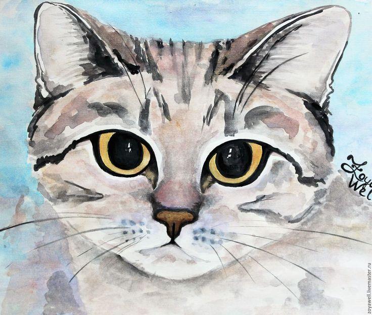 """Купить """"Королева кошек"""" - акварельный рисунок с кошкой - серый, Кошки, акварельные картины, животные, киса"""