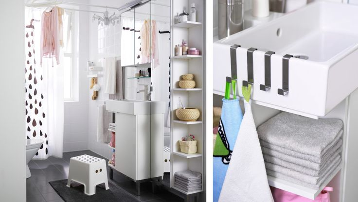 Ein kleines Badezimmer mit Platz für die Wäsche, u. a. mit LILLÅNGEN Waschkommode mit 1 Tür + 2 Abschlussregalen, LILLÅNGEN Spiegelschrank m...
