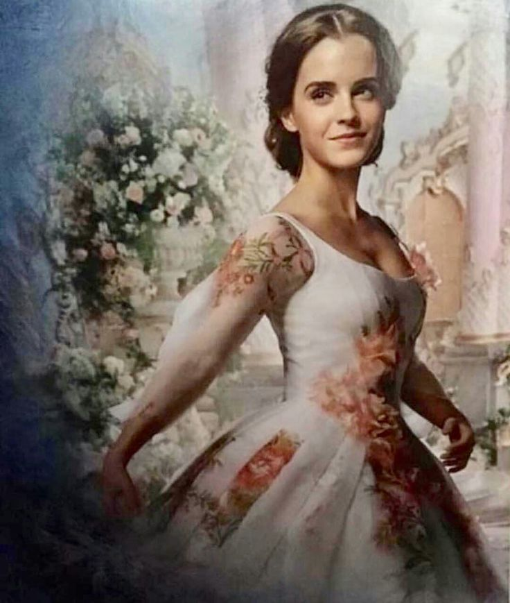 Emma watson as belle in her royal celebration gown for Beauty and the beast style wedding dress