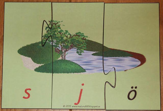Montessorimaterial: 3-bitars ljudstridiga ord pussel (grönt språkmaterial)