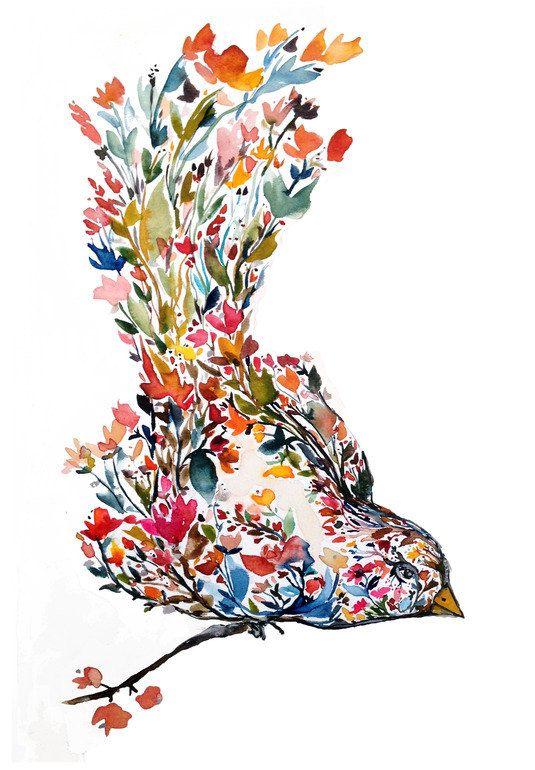 Mōhala uccello fiore acquerello pittura di KianaMosleyStudio