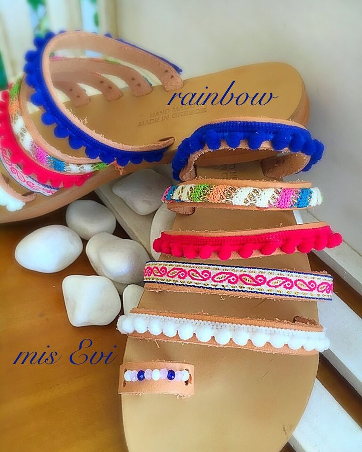 Rainbow !!!!! Handmade leather sandals