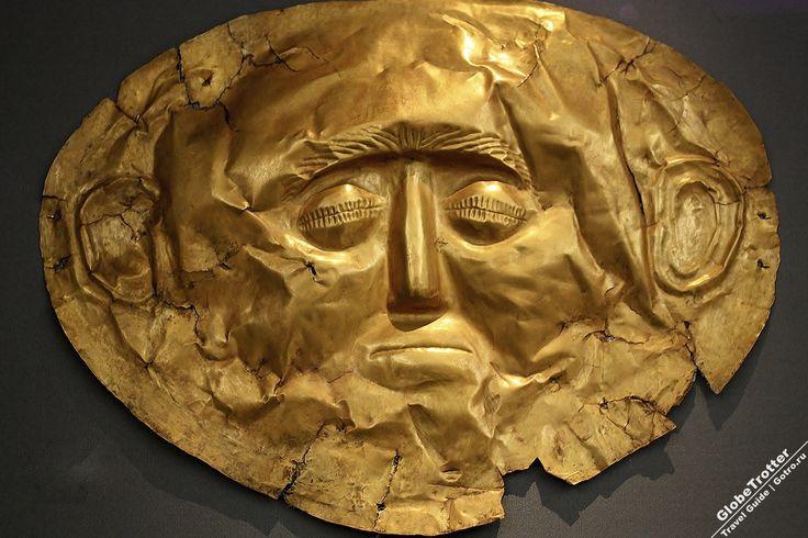 Золотая маска Греция Микены - руины древнегреческого города - одного из главных центров греческой цивилизации в период с 1600 по 1100 г. до н.э. именуемого Микенским. Микены расположены в 90 км от Афин. https://gotro.ru/europe/greece/2017/mycenae/