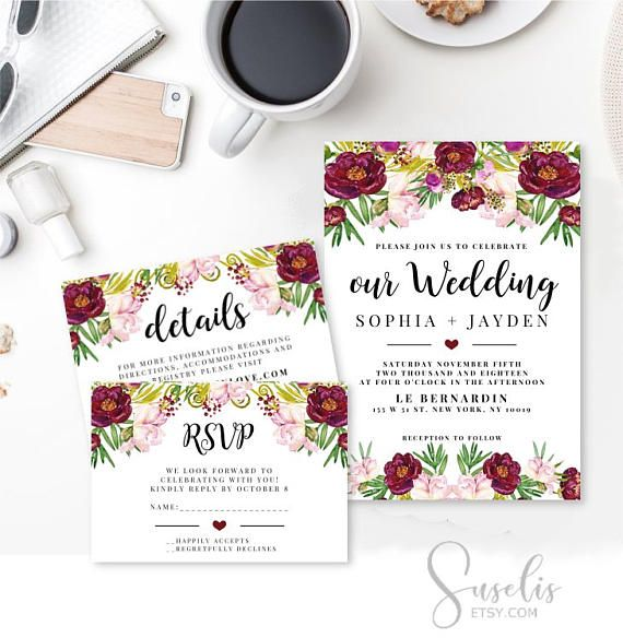 Wedding Invitation Suite Rsvp Thank you Watercolor flowers