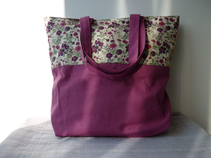 sac de shopping totebag tons fuchsia et fleurs