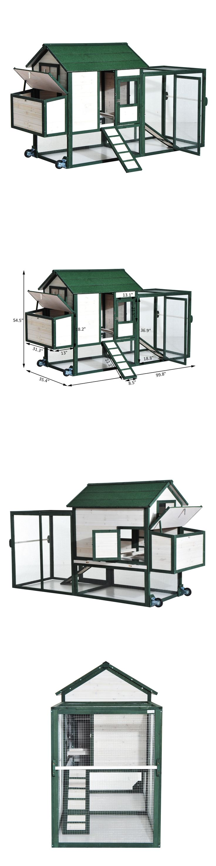 Backyard Poultry Supplies 177801: 100 Wooden Chicken Coop Hen House Wheels Portable Pet Poultry Houses Nest Box BUY IT NOW ONLY: $349.99
