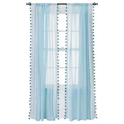 "Xhilaration® Tasseled Print Window Sheer - (50x84"")     Curtains - add a second layer with a blackout panel?"